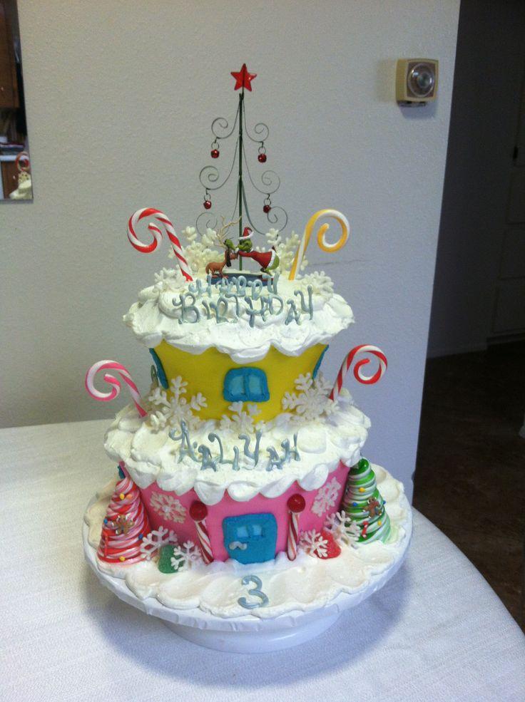 Cake Decorating Christmas Theme : Grinch Christmas theme birthday cake. :) Cake Decorating ...