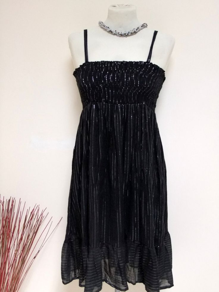 70s Disco SEXY Black-Silver Metallic Summer Dress, Sleeveless, Smocked, Strappy Dress, Knee Length - Size L - XL - SALE! by OrlyLa on Etsy
