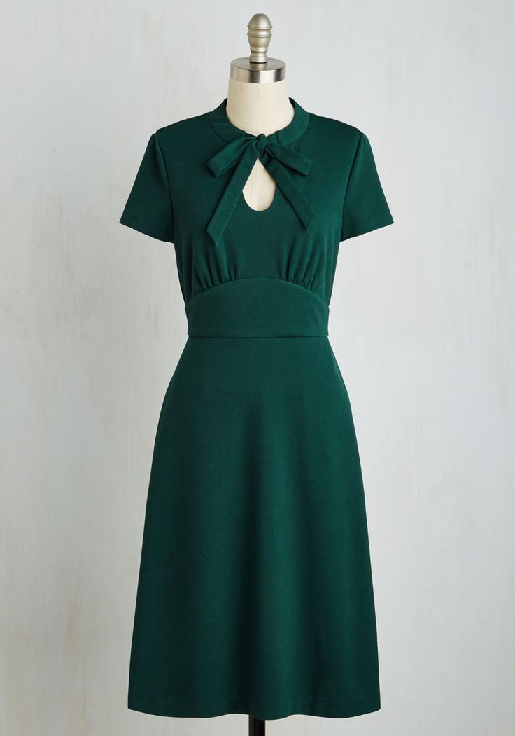 Archival Revival Dress. Your records show that a classic A-line dress with a retro twist will take you far in the fashion world! #green #modcloth