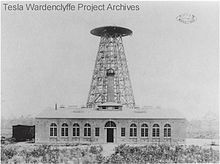 Wardenclyffe Tower (1901–1917) also known as the Tesla Tower, was an early wireless telecommunications tower designed by Nikola Tesla and intended for commercial trans-Atlantic wireless telephony, broadcasting, and to demonstrate the transmission of power without interconnecting wires.[2][3] The core facility was not completed due to financial problems and was never fully operational.[4]