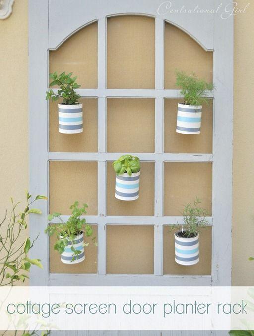screen door turned planter rack