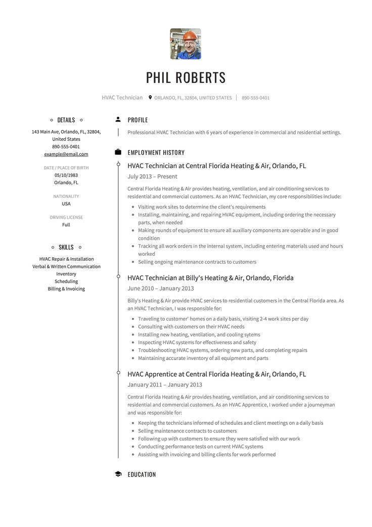 Hvac technician resume example template sample cv
