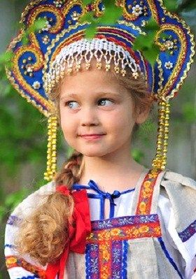 Russian girl in kokoshnik.