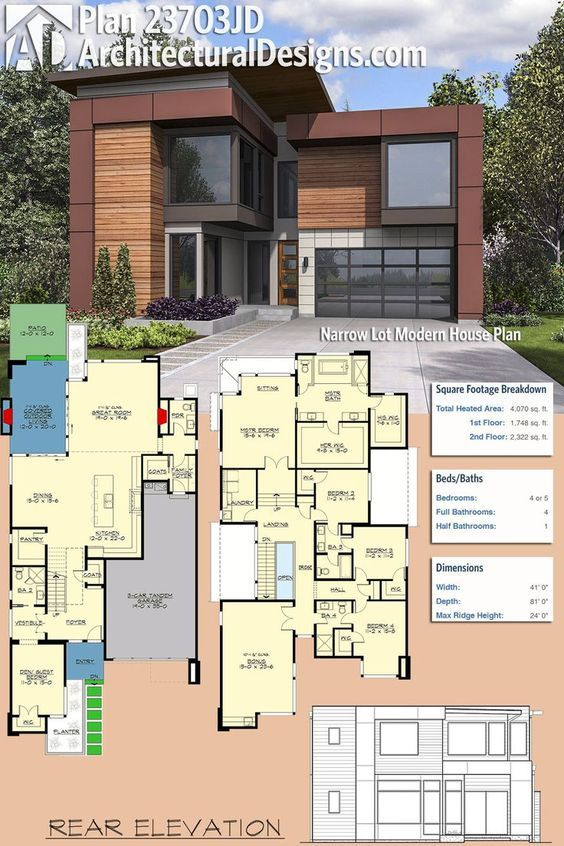 Architectural Designs Modern House Plan 23703JD comes in at just 41'-wide making it perfect for your narrow lot. It gives you 4 to 5 beds and just over 4,000 sq ft of heated living space. Ready when you are. Where do YOU want to build? #23703jd #adhouseplans #architecturaldesigns #houseplan #architecture #newhome #newconstruction #newhouse #homedesign #dreamhome #dreamhouse #homeplan #architecture #architect #modern #modernhomedesign #modernhouse