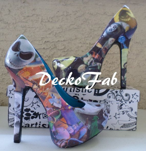 The Nightmare Before Christmas Heels by DeckoFab on Etsy