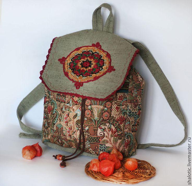 """Купить Льняной бохо - рюкзак """"Сказочный лес"""" - рюкзак, рюкзачок, сумка-рюкзак, летний рюкзак"""