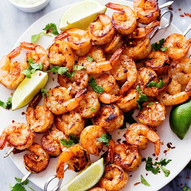Summer Herbed Grilled Shrimp Recipe: Grilled Spicy Lime Shrimp With Creamy Avocado Cilantro