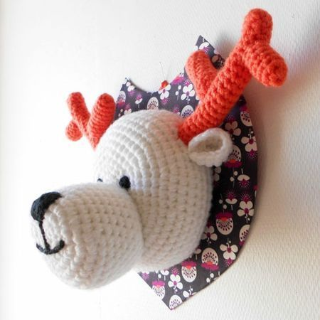 Crochet Deer Head, french, Free pattern