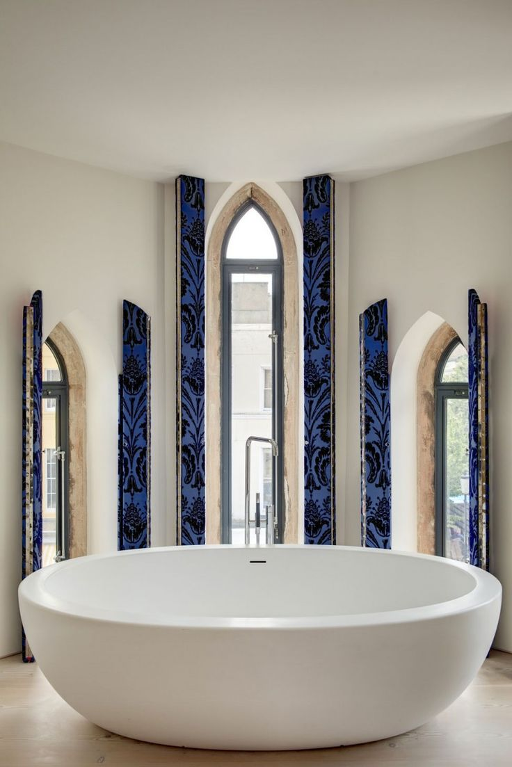 Unique window treatment - decorative shutters on the inside (this was a church converted into a home)