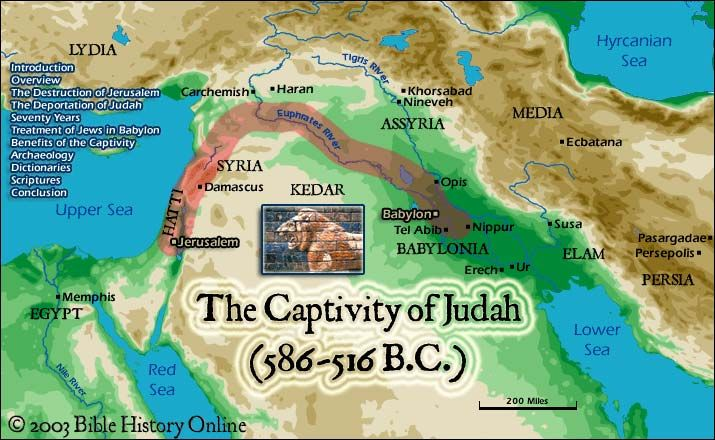 """Babylonian captivity (or Babylonian exile) during which Jews of the ancient Kingdom of Judah were captives in Babylonia. Biblical depictions of the exile include Book of Jeremiah 39–43 (which saw the exile as a lost opportunity); the final section of 2 Kings (which portrays it as the temporary end of history); 2 Chronicles (in which the exile is the """"Sabbath of the land""""); and the opening chapters of Ezra, which records its end.   Other works about the exile include the stories in Daniel 1–6"""