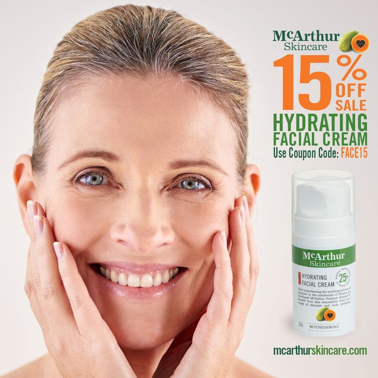 Save 15% OFF Hydrating Facial Cream Sale  Use coupon code: FACE15 at the final stage of the checkout to receive 15% OFF the Hydrating Facial Cream. Not available in conjunction with any other offer. Sale offer expires Midnight (AWST) Wednesday 8th March.  Maintain a fresh vibrant looking complexion and keep skin in prime condition - the natural way.