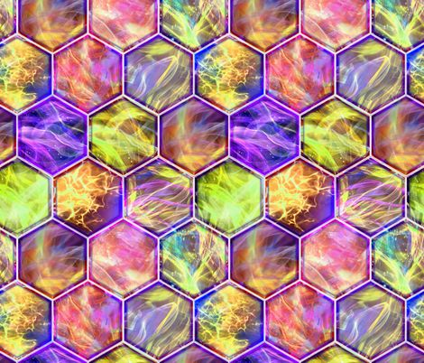 MAGIC CONTAINED LIGHTNING HEXAGONS  purple yellow fuchsia fabric by paysmage on Spoonflower - custom fabric