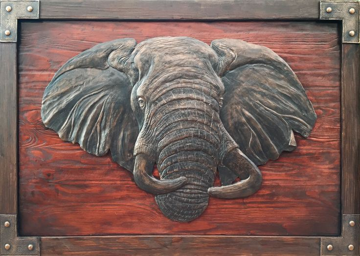Elephant Head Sculpture. Wall Hanging. Hand Crafted. Wooden Frame: 1330x1000 Elephant Head M1 sculpture casting agent and stained wood. www.Goodieshub.com
