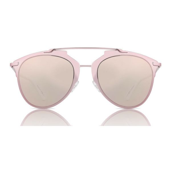 Dior REFLECTED M2Q/0J Sunglasses (5.538.585 IDR) ❤ liked on Polyvore featuring accessories, eyewear, sunglasses, rose pink, pink sunglasses, mirrored sunglasses, mirror lens sunglasses, aviator sunglasses and pink mirrored aviators