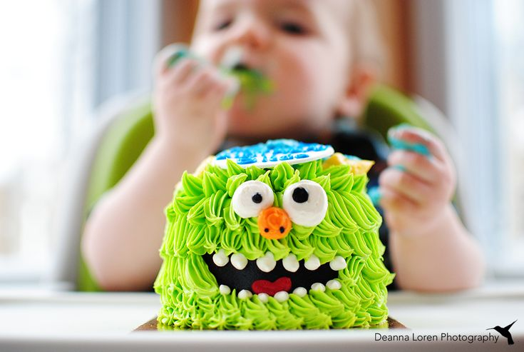 1 year old birthday photo ideas   Monster themed cake smash   Deanna Loren Photography