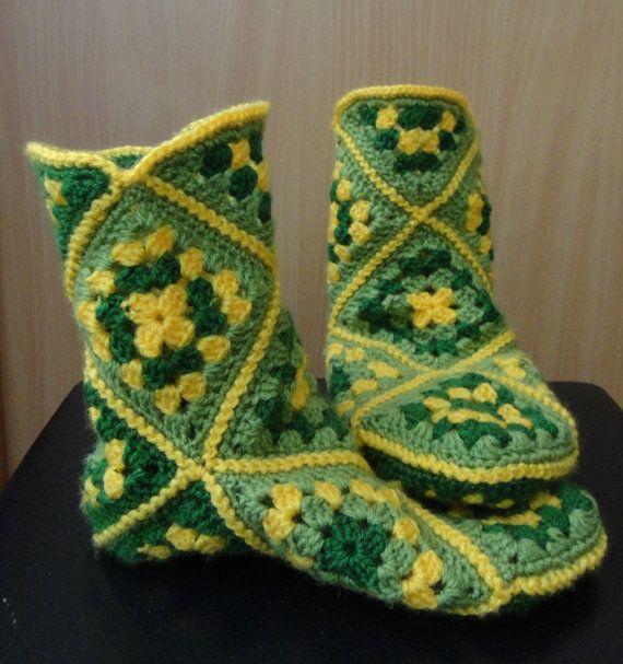 Handmade Crochet Socks Granny Square Womens slippers home by Tjan, $38.00