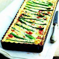 Tarte aux asperges, ricotta et jambon italien