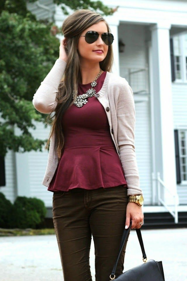 Wear to Work || wine peplum top, statement necklace on forallthingslovely.com