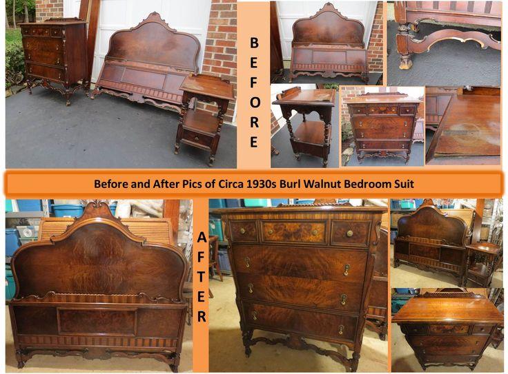 ca 1920s burl walnut bedroom suite that i restored