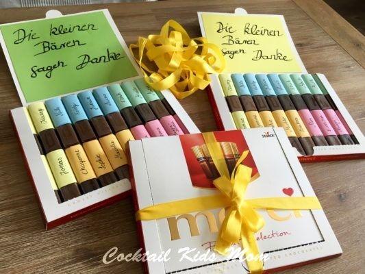In meinem Mamablog: DIY Jahresabschluß-Geschenk für den Kindergarten, Danke sagen mit Schokolade und Selbstgebasteltem, Merci Schokolade und Handlettering