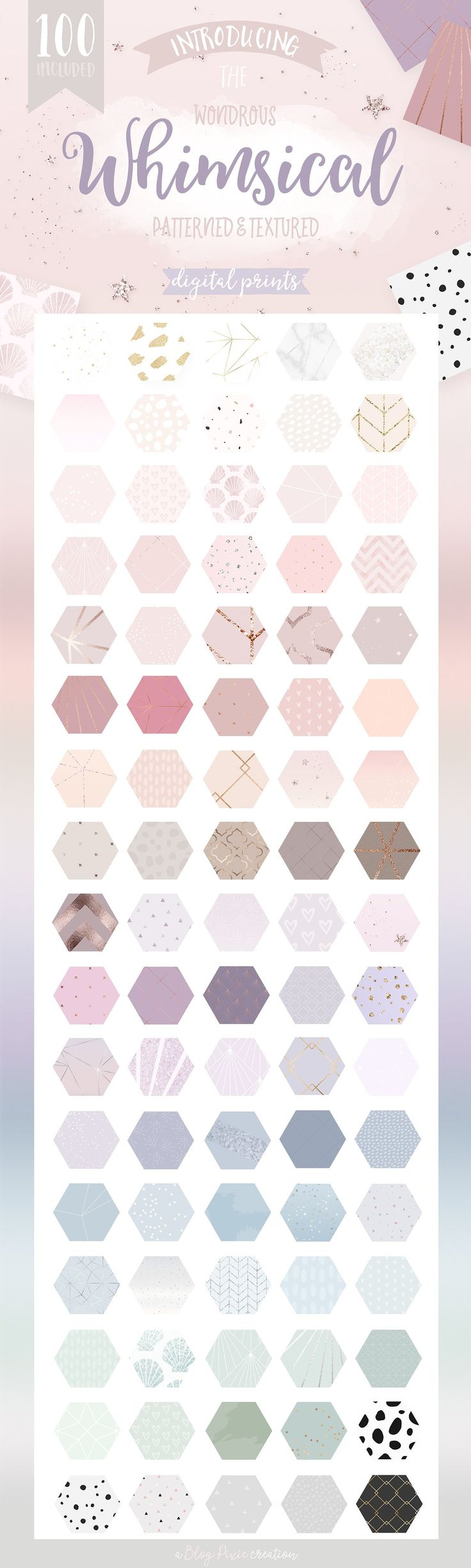 Whimsical Branding Patterns by Blog Pixie