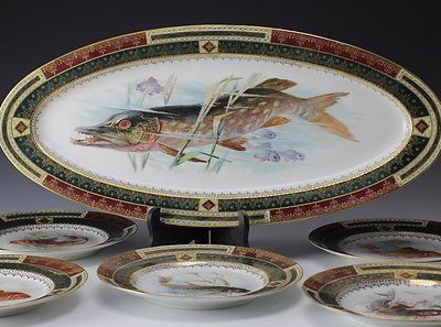 6pc Set Royal Vienna Game Plates \u0026 Platter - Exquisitely handpainted Fish & 55 best Fish plates images on Pinterest | Fish plate Dishes and ...
