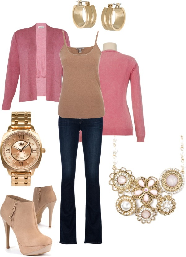 """""""Dusty Pink, Beige and Gold Casual Outfit"""" by jennifer-thoden on Polyvore"""