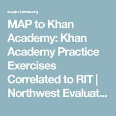 MAP to Khan Academy: Khan Academy Practice Exercises Correlated to RIT | Northwest Evaluation Association (NWEA)
