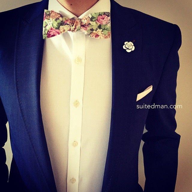 "5,257 Likes, 207 Comments - SuitedMan (@suited_man) on Instagram: ""The Details: Bow Tie - Vintage Pink Floral; Lapel Flower - Crystal Camellia; Pocket Square - Light…"""
