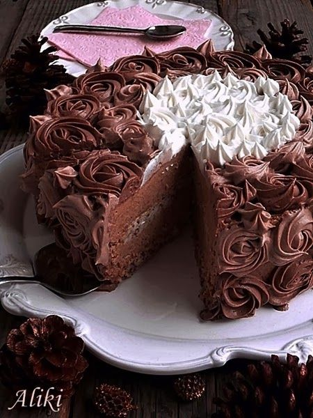 """""""Milka"""" cake with walnuts and biscuit crumbs"""