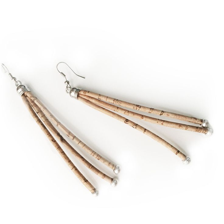 Noodles cork earrings