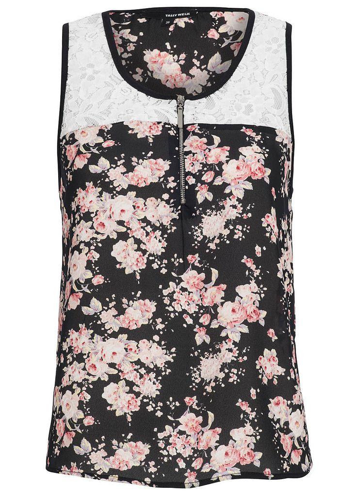 15070273 Damen Tally Weijl Top mit Spitze Blumen transparent schwarz rose rosa | eBay