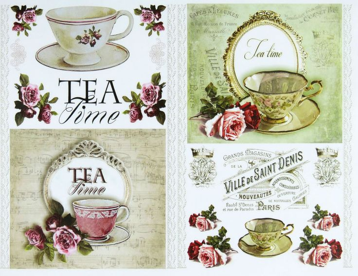 Classic Decoupage Paper, Craft Scrapbooking Sheets  Tea Time