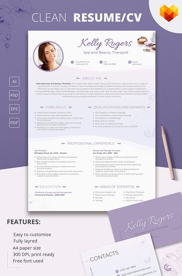 Spa Therapist Resume https://www.motocms.com/cv-builder/  #spa #spatherapy #resume #CVdesign