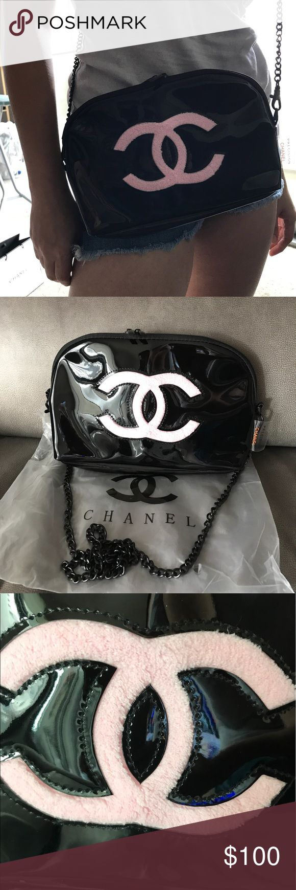 """Chanel VIP gift bag Black color pink """"CC"""" on front. Black metal chain,Two Zip closure, Pink satin lining. This is a VIP gift item, does not come with hologram sticker, authenticity card or tags. This Chanel VIP gift only in Asia not in US. W: 10""""H: 6.5""""D: 4.25"""" Shoulder strap drop: 18"""" CHANEL Bags Crossbody Bags"""