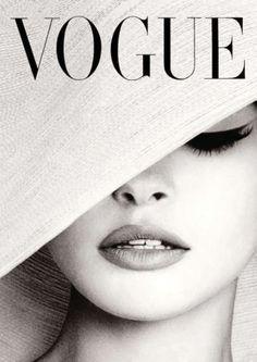 Vogue Cover White Hat Fotografie Poster Print Canvas - Französisch, Vintage, Art Deco - #art #Canvas #cover #Deco #Fotografie