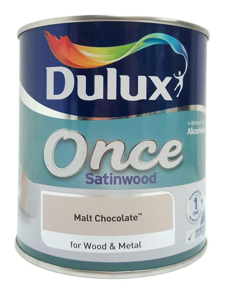 Dulux Once Satinwood One Coat Interior Wood U0026 Metal Paint   Malt Chocolate  750ml