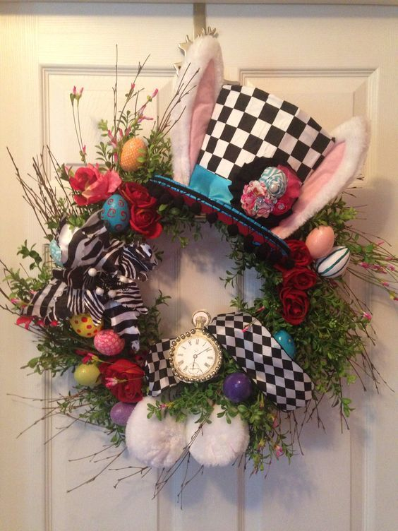 So they call this an Easter Wreath...it looks more like a Alice in Wonderland Wreath to me... either way, it is adorable!