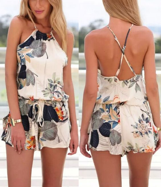 Sprinkle some sweet romance in summer season, and meet your beloved one in this petite floral rompers.-OASAP.
