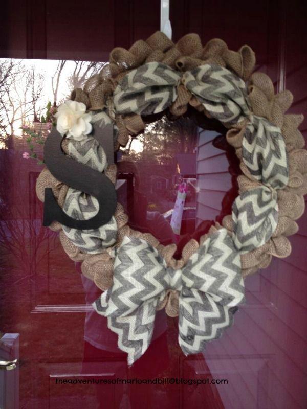 Love our Burlap Chevron wreath Decorating
