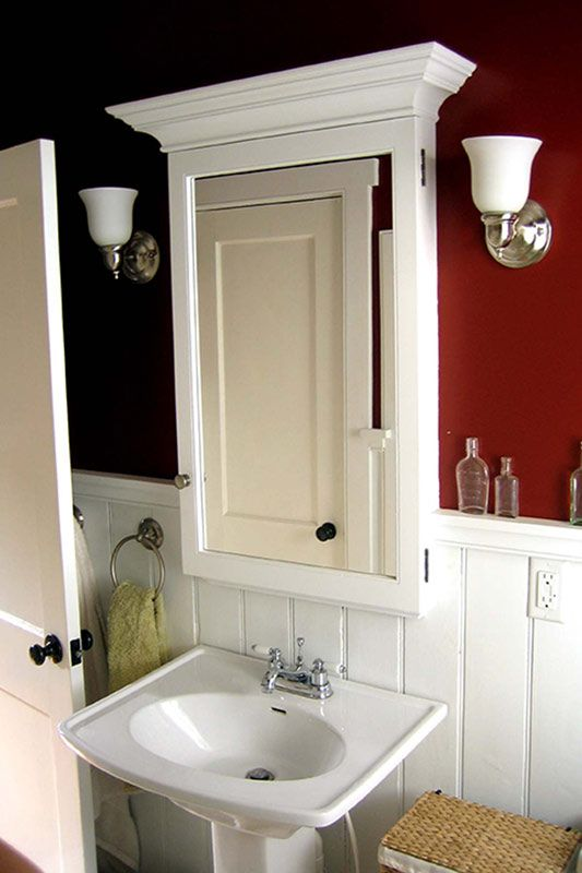 Built in medicine cabinet recessed into the wall for maximum storage space.