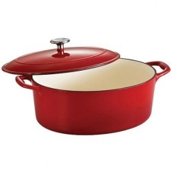 This Oval, 7 quart size Tramontina porcelain enamel, cast iron dutch oven. I really want one of these, it is brilliant for roasting cuts of meat and making large casseroles. Note the self basting ridges on the lid which keep meats moist and flavorsome. Great value too - on sale at a big discount right now. Check out the review of Tramontina dutch ovens here - if the 7 quart size is too big for you, smaller ones are available.