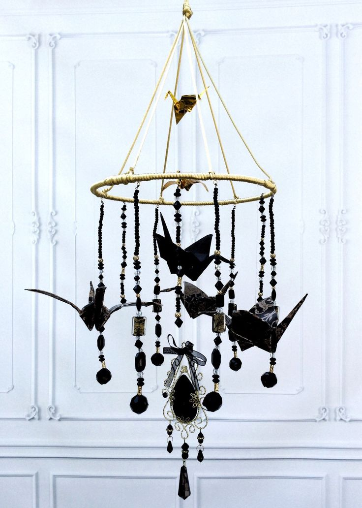 Crystal Chandelier - Origami Crane Mobile - Bathtub Chandelier - Beaded Chandelier - Bohemian Mobile - Feng Shui Mobile - Eclectic