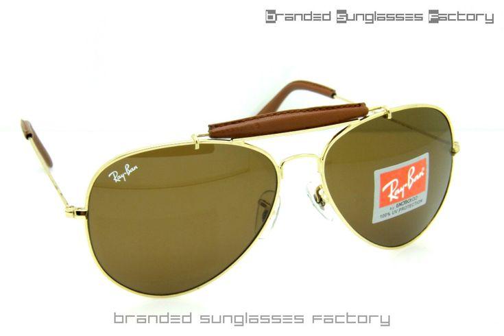 8dd0ec7b3441fd ... canada 805289368977 40 authentic ray ban rb3422q craft outdoorsman ii  aviator sunglasses gold frame brown l