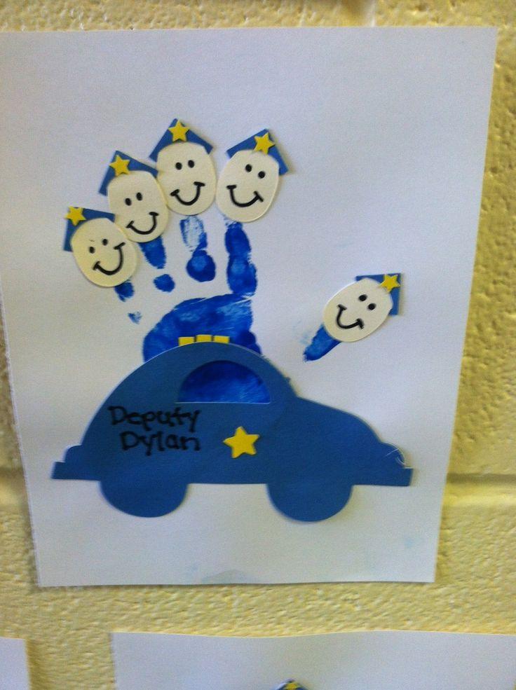 Handprint Police car, community helpers- Preschool ::Crafts By Mahaley