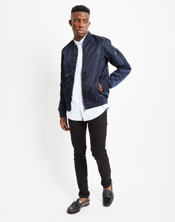 The Idle Man Lightweight MA-1 Nylon Bomber Jacket Navy | Shop men's jackets and clothing at The Idle Man