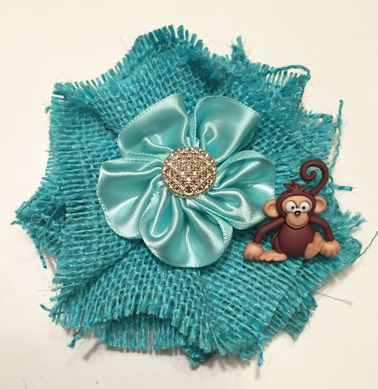 Monkey Mommy-to-Be Baby Shower Corsage/ Teal Mom to Be Safari Corsage/ Zoo Baby Shower Corsage/ Monkey Mommy to Be Pin/ Teal Monkey Shower by DoodleBugsDelights on Etsy