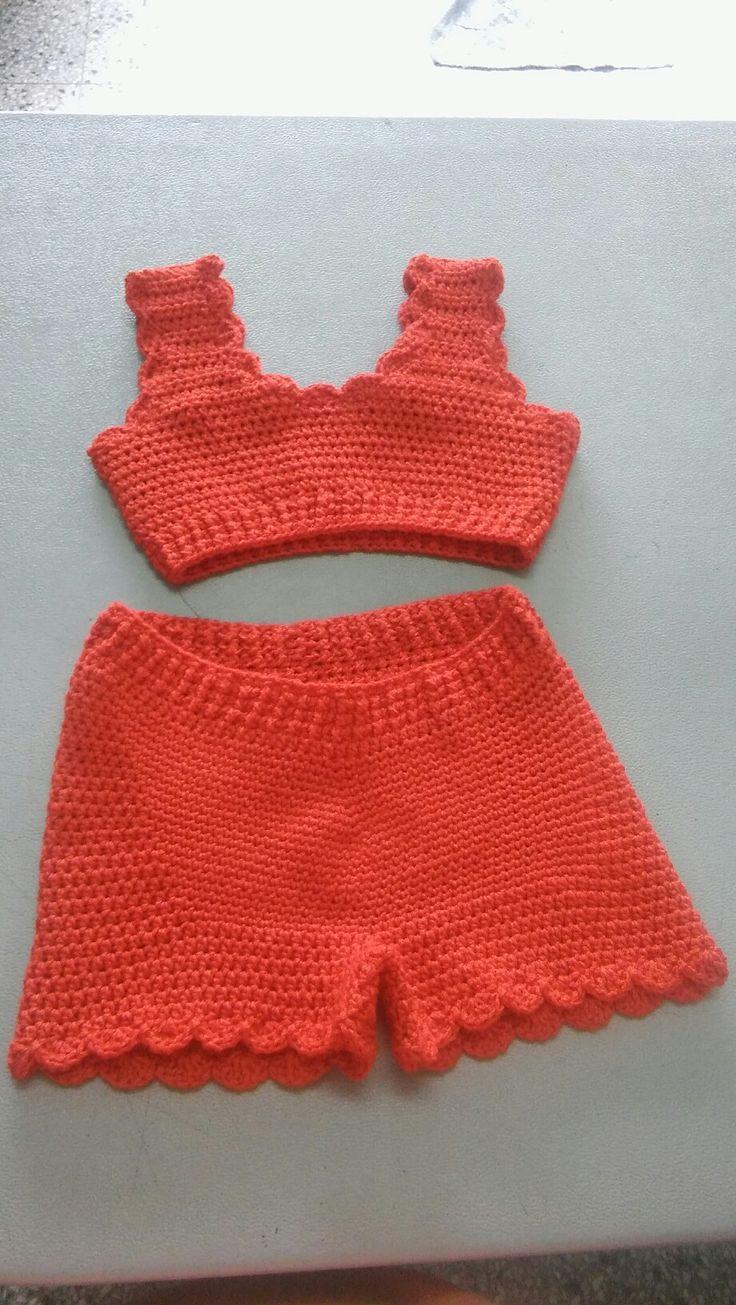 bikini niña de algodon y lycra tecnica crochet