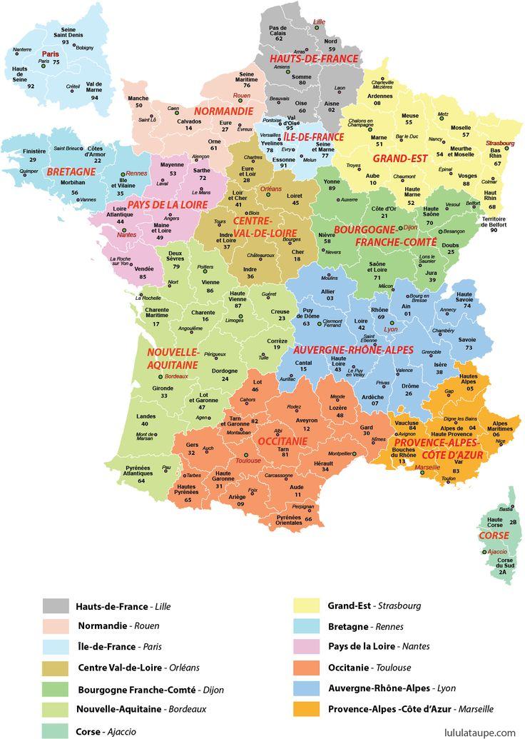 Carte des 13 régions de France à imprimer, départements, préfectures