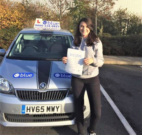 Annabelle Veitch passed driving test in Farnborough First Time Pass - https://www.blueschoolofmotoring.com/blog/2017/11/29/annabelle-veitch-passed-driving-test-in-farnborough-first-time-pass/ - https://www.blueschoolofmotoring.com/blog/2017/11/29/annabelle-veitch-passed-driving-test-in-farnborough-first-time-pass/ - https://www.blueschoolofmotoring.com/driving-lessons-instructor-img/Farnborough-Driving-test-for-Annabelle-Veitch-e1511953537943.jpg - Well done to Annabelle Veit